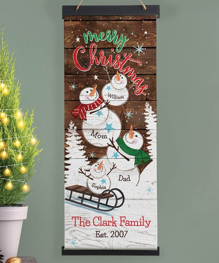 Personalized Planet 'Merry Christmas' Snow Family of Five Personalized  Hanging Canvas
