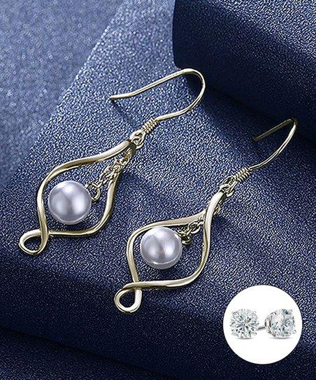 b5d69e56e Golden NYC Gray Cultured Pearl & Sterling Silver Twist Drop Earrings ...