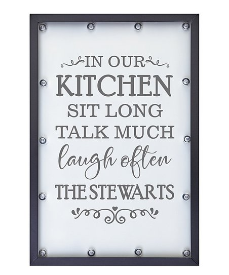 Personal Creations White In Our Kitchen Light Personalized Vertical Wall Sign
