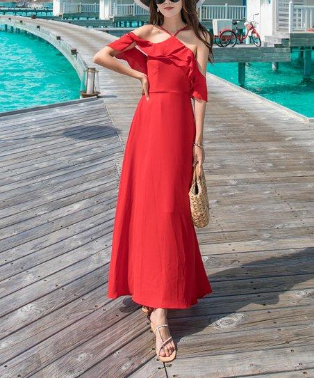 bef831e86c2 love this product Red Cutout Ruffle Maxi Dress - Women