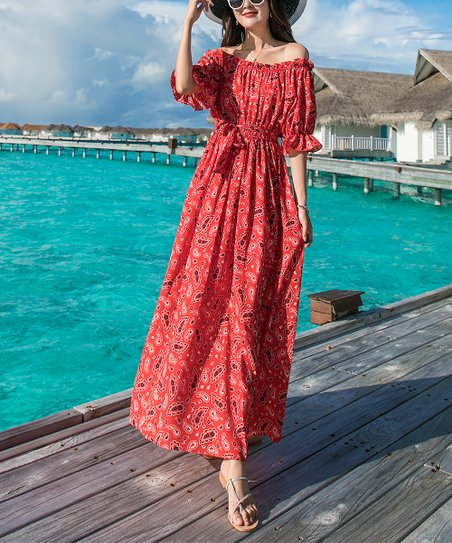 4339652fb93 love this product Red Paisley Off-Shoulder Ruffle-Sleeve Maxi Dress - Women