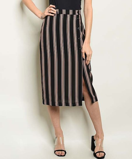3c9b613b7d5b6f The Balec Group Black Stripe Side-Slit Button Midi Skirt - Women ...