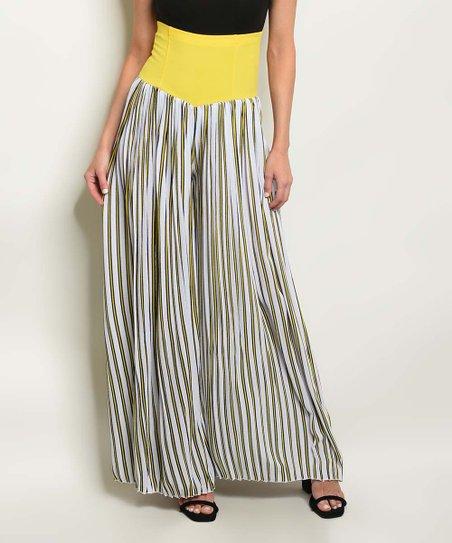 5d879f5f3ec1 The Balec Group Yellow & White Stripe Palazzo Pants - Women | Zulily
