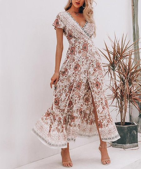 34cc8991f40 love this product White Floral Flutter-Sleeve Wrap Dress - Women