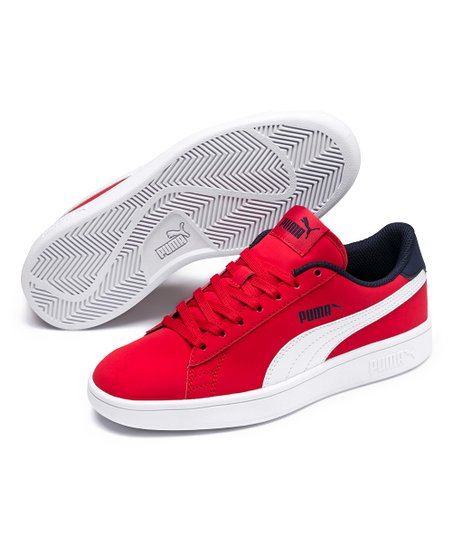 PUMA High Risk Red   Puma White Smash V2 Buck Jr Sneaker - Girls ... 402c6b187