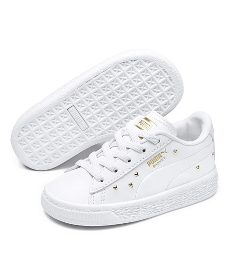 PUMA Puma White & Puma Team Gold Basket Studs Sneaker Girls