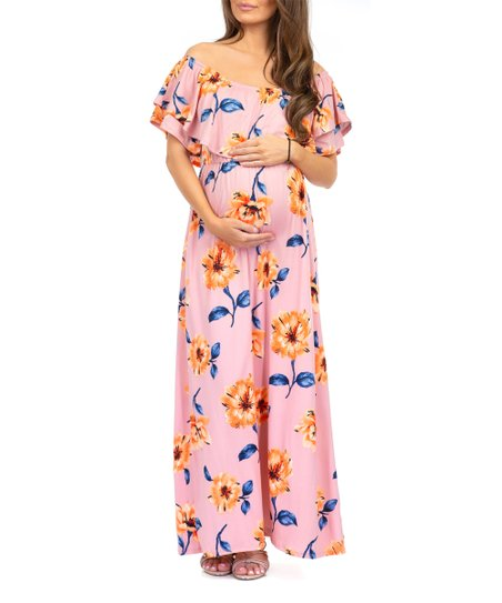 9d14d4883948 love this product Mauve Floral Ruffle Off-Shoulder Maternity Maxi Dress -  Women