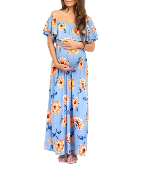 deac8b045f6b3 Mother Bee Maternity Blue Floral Ruffle Off-Shoulder Maternity Maxi ...