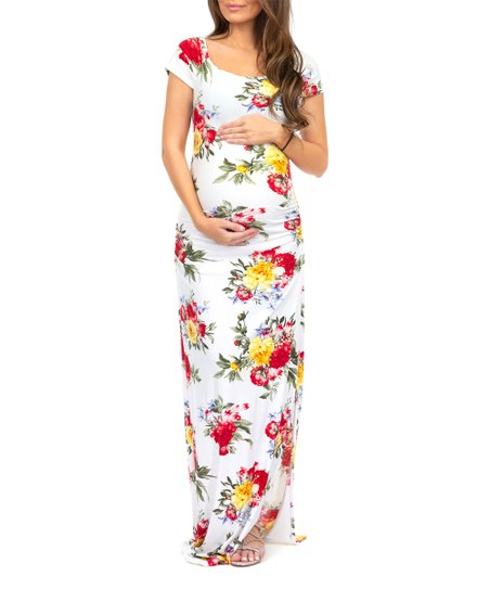 ce1f3e7084384 love this product Off-White Floral Scoop Neck Maternity Maxi Dress - Women