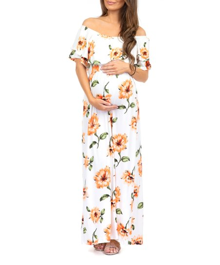 a04539f7b8f15 love this product Off-White Floral Ruffle Off-Shoulder Maternity Maxi Dress  - Women