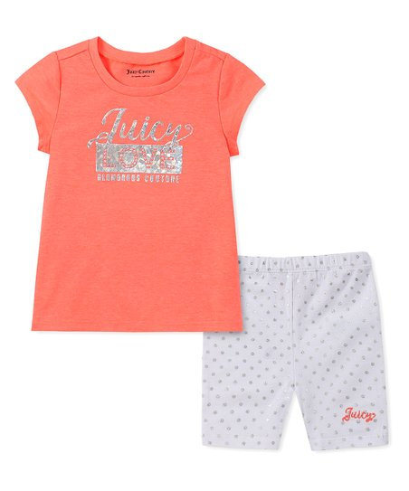 295cb0845cb0f love this product Coral 'Juicy Love' Crewneck Tee & White Polka Dot Shorts  - Infant, Toddler & Girls