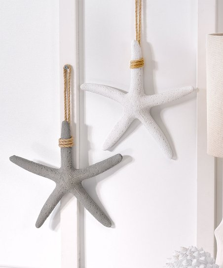White Starfish On Rope Wall Décor Set