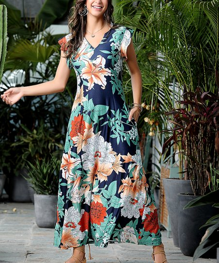 6e952064b438a love this product Navy & Green Floral Ruffle Cap-Sleeve Maxi Dress - Plus