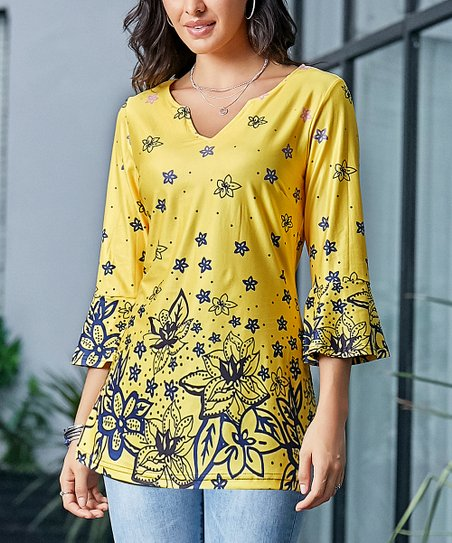 cc6979796b977c love this product Yellow & Blue Floral Mini Bell Sleeve Top - Women & Plus