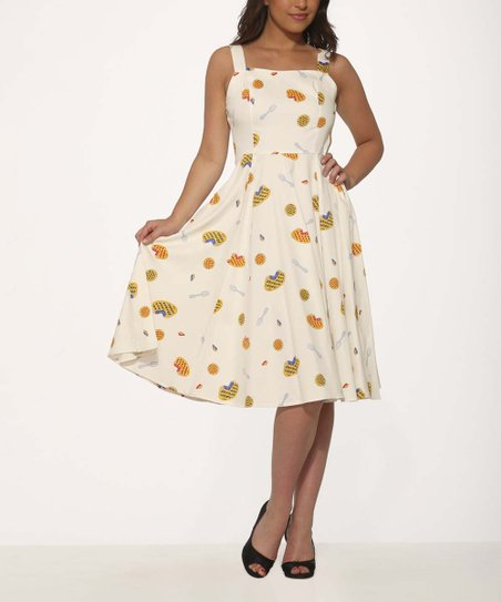 65a033d59560 HEARTS & ROSES LONDON Cream Pie Fit & Flare Dress - Women | Zulily
