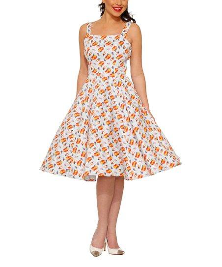 956e204b229e HEARTS & ROSES LONDON White Peachy Fit & Flare Dress - Women | Zulily