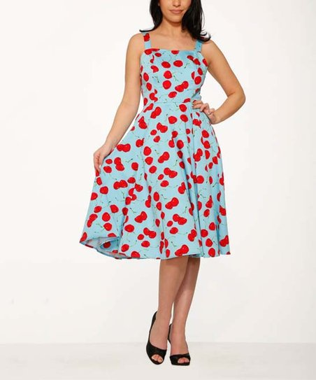 a4384c2ef82a HEARTS & ROSES LONDON Blue & Red Martina Fit & Flare Dress - Women ...