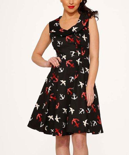6b6da1d79305 HEARTS & ROSES LONDON Black Sailor Fit & Flare Dress - Women | Zulily