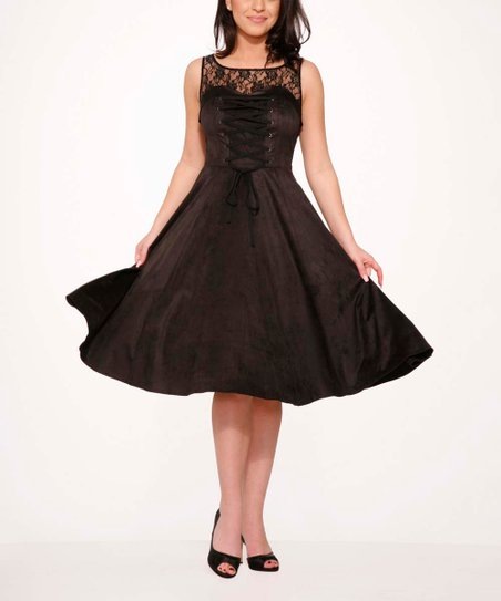 7803c3ac42f3 HEARTS & ROSES LONDON Black Gallerina Fit & Flare Dress - Women | Zulily