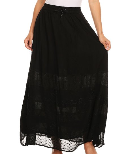 cf3ad8c2e4 love this product Black Floral Tie-Waist Maxi Skirt - Women & Plus