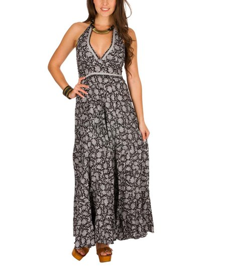 e6f0c09cfd8 love this product Black   White Floral Halter Maxi Dress - Women