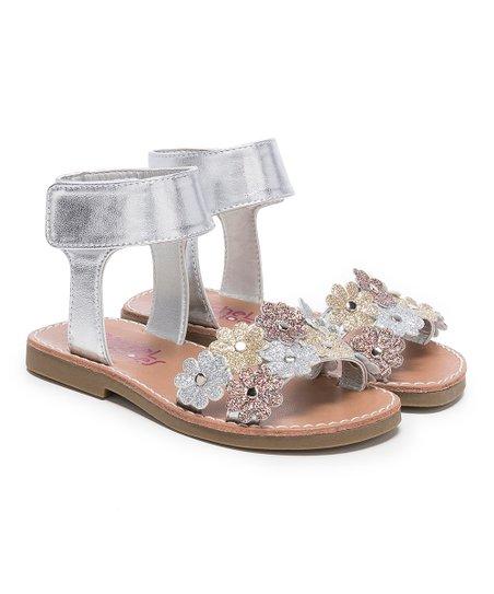 60a22e8a9324 Rachel Shoes Silver Glitter Floral-Strap Yasmin Sandal - Girls | Zulily