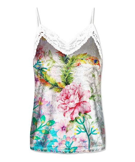 68c1312645491 love this product Teal   White Floral Lace-Detail V-Neck Tank - Women   Plus