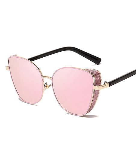 4357af49b7c4 love this product Pink Glitter-Accent Wrap-Around Cat-Eye Sunglasses