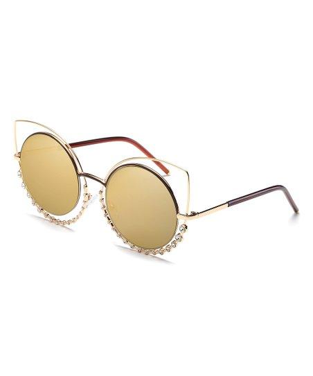 366f50a7ebbd8c Spuka Gold Rhinestone-Accent Cat-Eye Sunglasses | Zulily