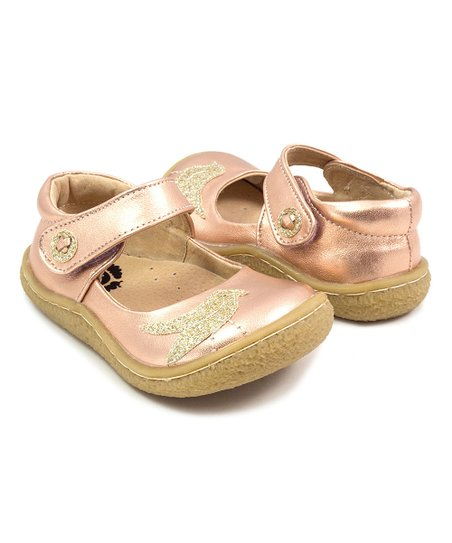 84e229d9f43e love this product Metallic Rose Gold Pio Pio Glitter Bird Leather Mary Jane  - Girls