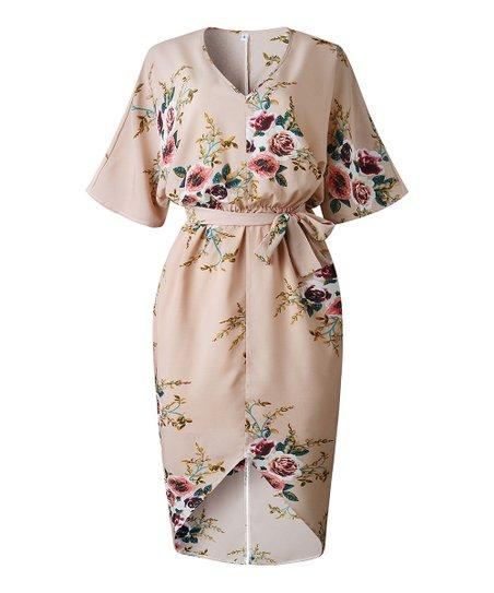 67c9e6736842 love this product Khaki Floral Hi-Low V-Neck Dress - Women
