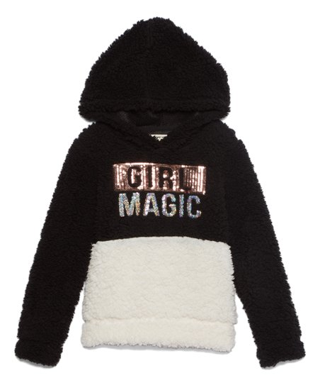 One Step Up Girls Sequin Love Plush Hoodie