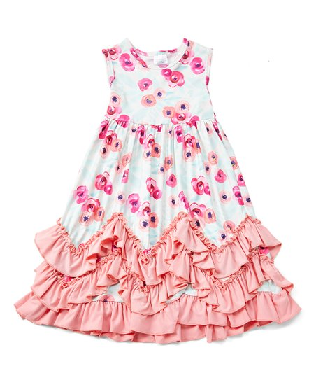 06776326006 love this product Pink   Blue Floral Ruffle-Accent Maxi Dress - Infant
