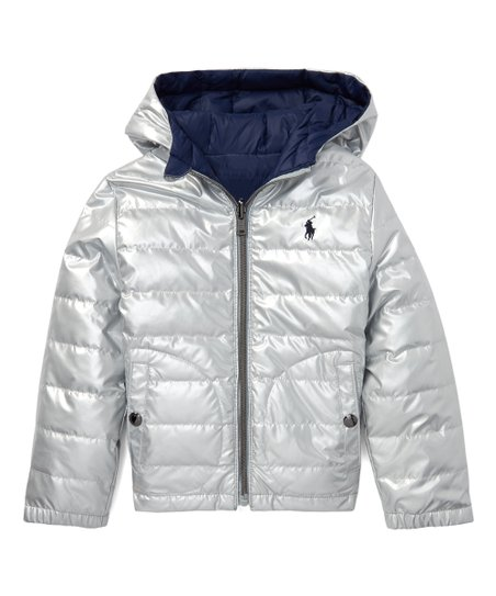 provide plenty of moderate price newest selection Polo Ralph Lauren Silver & Navy Reversible Hooded Puffer Jacket - Boys