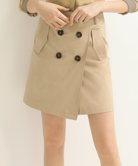 2f59823e70 Cocobella Khaki Double-Breasted Trench Skirt - Women | Zulily