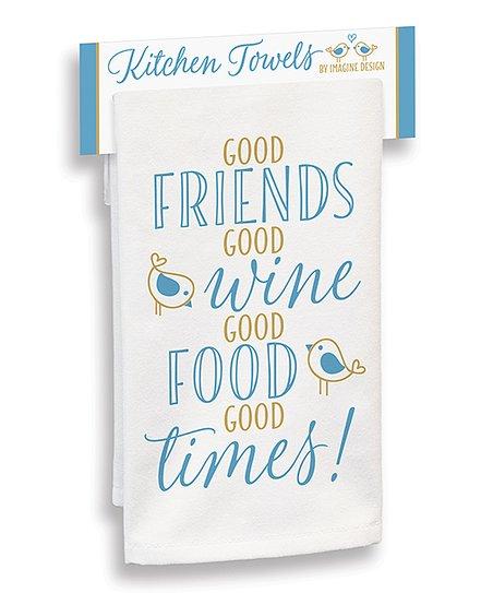 Imagine Design White Blue Good Friends Good Wine Kitchen