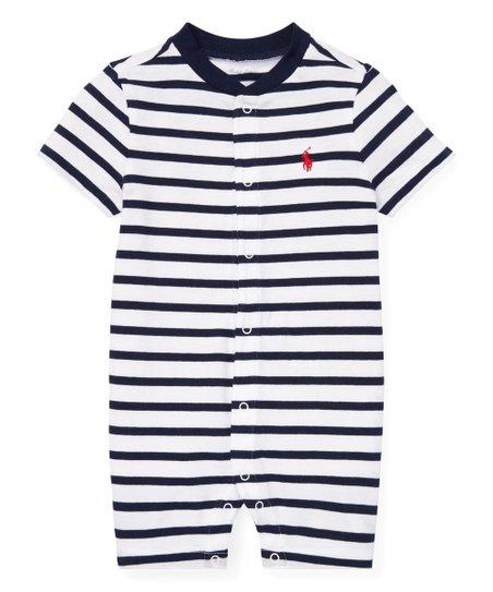 f0f8ff914 Polo Ralph Lauren White   French Navy Stripe Romper - Infant