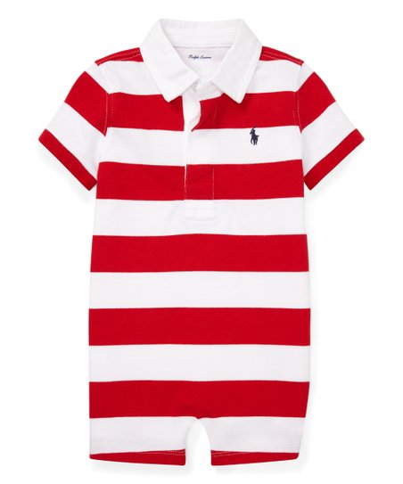 966b7123d Polo Ralph Lauren Red   White Stripe Romper - Infant