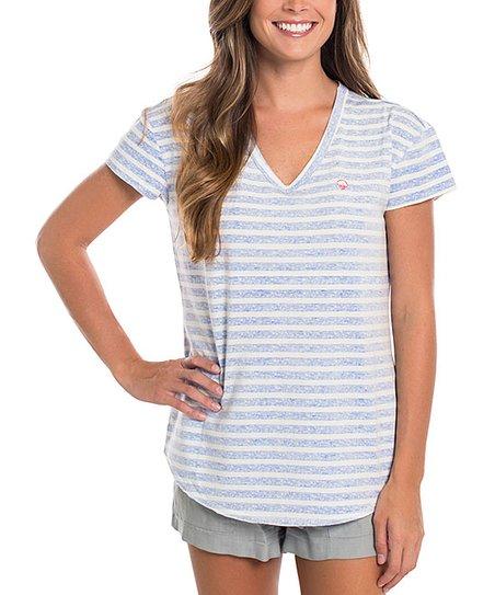 6f8104206 Southern Shirt Vista Blue Stripe Ali V-Neck Tee - Women | Zulily