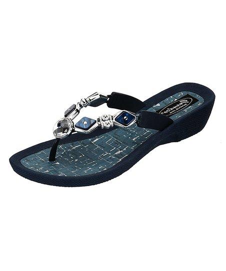 9b3ab1ba7a0d love this product Navy Diamond Pearl Sandal - Women