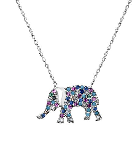 6d6d7791d love this product Blue & Pink Elephant Pendant Necklace With Swarovski®  Crystals