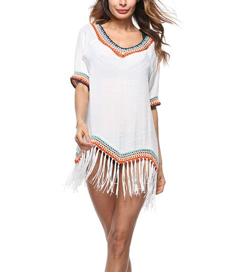 7f1d8b71d6 Chateau Amour White Crochet & Fringe-Hem Cover-Up - Women | Zulily