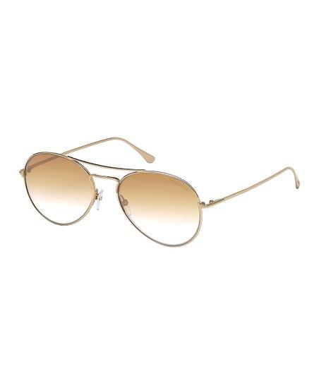 869b37f8b love this product Shiny Rose Goldtone & Brown Mirror Aviator Sunglasses