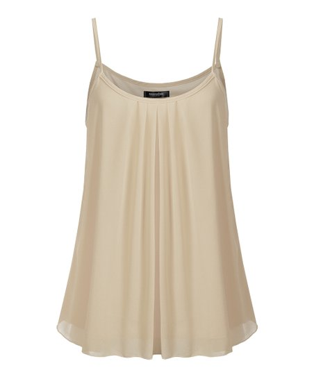 ac04eed6161a51 love this product Taupe Pleated Layered Camisole Tank Top - Women