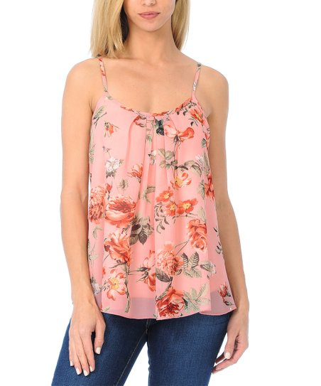 40efb2ea31cf8 SSOULM Blush Floral Pleated Layered Camisole Tank Top - Women