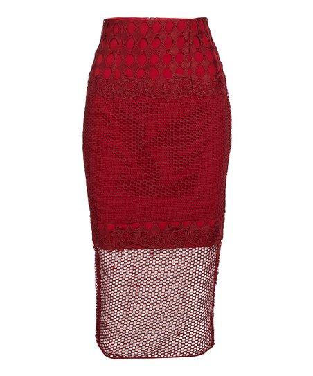 Bariano Australia Burgundy Mesh-Hem Midi Skirt - Women