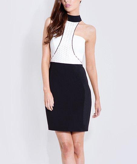 5bae4c5201 Bariano Australia White & Black Color Block Sleeveless Dress - Women ...