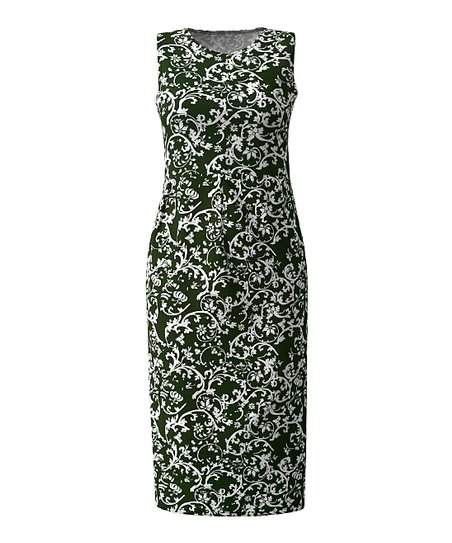 b8d9c4cd Hunter Green & White Baroque Floral Sleeveless Sheath Dress - Women & Plus