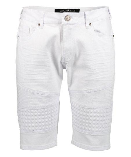 bad2ea9a48 love this product White Moto-Stitch Denim Shorts - Boys & Men