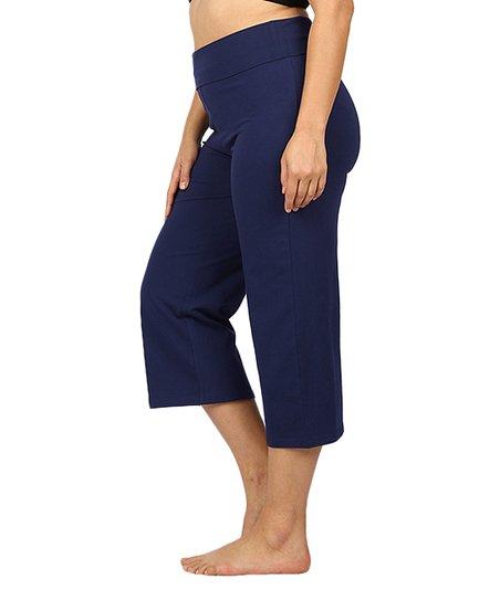 776e5918b59fdb love this product Navy Fold-Over Capri Yoga Pants - Women & Plus